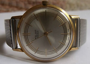 """POLJOT""- 23jew-GOLD PLATED-20 mikrons- OLD USSR WRIST WATCH MEN,S"