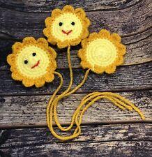 Crochet Handmade Sun Craft Diy Applique Flower Yellow Happy Cute Tag Gift