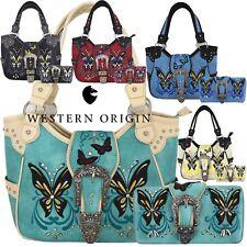 Western Style Erfly Buckle Women Purses Country Concealed Handbag Wallet Set