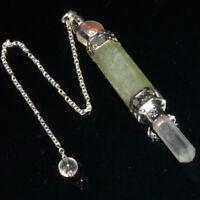 Natural Green Aventurine Stone Bar Wand Healing Chakra Dowsing Pendulum