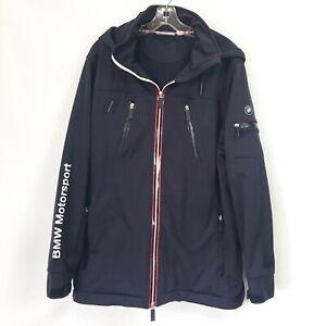 BMW Motorsport Mens Large Soft Shell Jacket Navy Windbreaker Coat Removable Hood