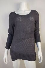 DELETTA Anthropologie Gray Overlapping Lace Top - size L