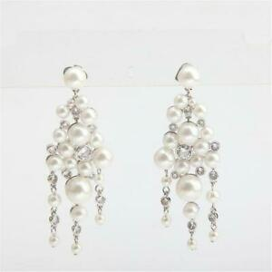 Kate Spade New York Pearl Caviar Statement Earrings Silver Tone