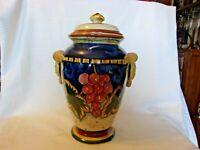 "Ceramic Decorative 13"" Tall Ceramic Jar With Lid Embossed Handles, Grapes Design"