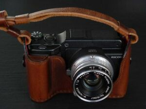 LUIGI CASE to RICOH GXR with YOUR LEICA M MODULE,+STRAP,NATURAL AGED RALLY/BLACK