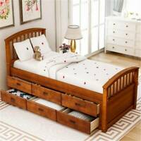 Walnut Twin Size Platform Storage Bed Solid Wood Bed with 6 Drawers Home Popular