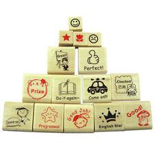 15pcs Wooden Rubber Teacher Stamp School Homework Reward Education Supplies Set