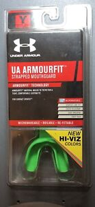 Under Armour Hyper Green YOUTH Armourfit Strapped Mouthguard FOOTBALL LACROSSE