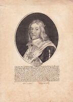 Portrait XVIIe César De Vendôme Grand Amiral De France Gouverneur de Bretagne