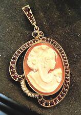 Vintage Gold Vermeil Sterling Bohemian Garnet Seed Pearl CAMEO Pendant