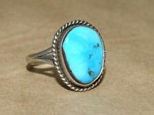 VTG 70s Southwest Sterling Silver Rope Style Robins Egg Turquoise Ring sz 10.75