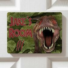 Personalised T Rex Dinosaur Children's Bedroom Door Boys Name Sign Plaque DP37