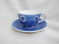 TEA CLIPPER CUP & SAUCER WHITTARD CHELSEA BLUE WHITE HANDPAINTED FLOWER CIRCLE