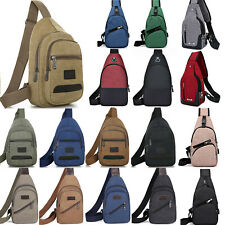 Mens Canvas Chest Pack Sling Bags Outdoor Traveling Hiking Crossbody Rucksack