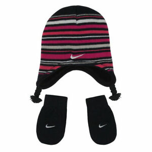 New Nike Baby Girls 2 Pc Knit Beanie And Mittens Set Size 12-24 MO MSRP $20.00