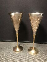 2 ELEGANT FLUTE GOBLETS BRASS AND SILVER PLATED ORNATELY ETCHED GOBLETS  9