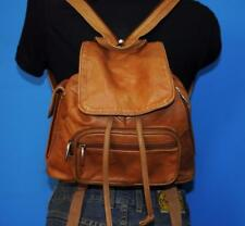 Vtg Brown Leather Smaller Patchwork Drawstring Convertible Backpack Bag Purse