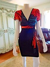 BEBE SEXY DRESS, S , BLACK FITTED BOTTOM, COLORFUL TOP.AS IS A SMALL FLAW AT WAI
