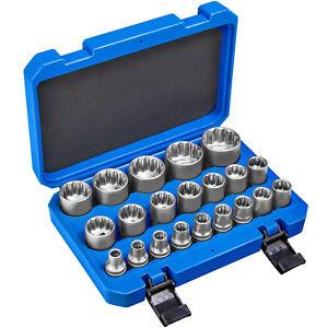 21 pcs Ensemble clé à douille femelle 1/2 pouce 12 pans cannelé outils kit