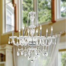"8-Light Chrome Finish 28"" x 30"" Thor Clear Crystal Candel Chandelier Light"