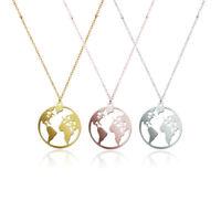 Edelstahl Halskette Kette Weltkarte Globus Welt Symbol Gold Silber Boho Rosa