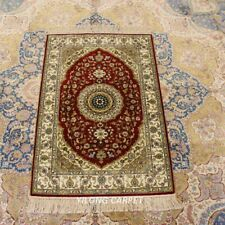 YILONG 2'x3' Red Silk Carpet Medallion Hand-knotted Parlor Indoor Rug LH906B