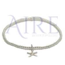 925 Sterling Silver Stretch 2mm Stunning Ball Bracelet with starfish charm