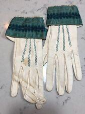 Vintage Gloves Womens Nicolet Paris Kid Leather Ribbon trim Aqua Ivory