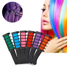 6pcs Temporary Hair Color Comb Dye Salon Kits With 6 Pcs Hair Chalk Party Fans
