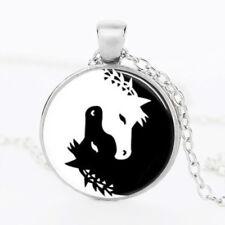 Sterling silver HORSE pendant necklace men women keyring YIN YANG keychain fob