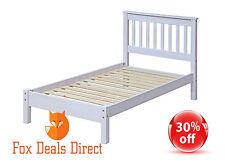Bed Single Bed Slatted Frame White Wash PREMIUM Corona Bedroom Room Furniture