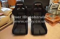 2x Large size Bride Vios III Full Black. Fibre glass back. Bucket seats racing
