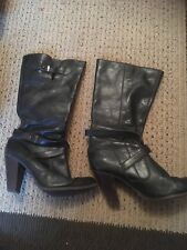Ladies Western Style Cowboy Black Leather Boots Eu Size 39 Uk 5-6
