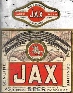 JAX BEER  AMERICAN BRAND LARGE METAL POSTER TIN SIGN WALL PLAQUE RETRO