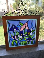 Stained Glass Purple Pink Bouquet Floral Decor Suncatcher With Wooden Frame Iron