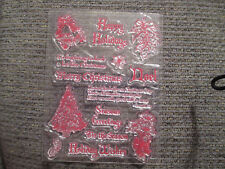 Set of 14 clear self sticking rubber stamp set Christmas sayings and figures NEW