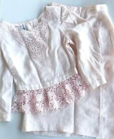 Vintage Liberty & Lucrezia Cloak Of Many Colors Pink 2pc Linen Skirt Suit Size 4