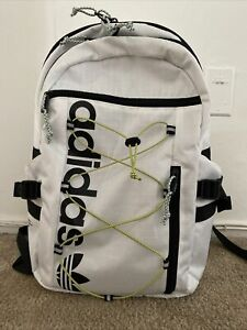 Authentic Adidas Originals White Bungee Backpack Laptop School Bag Preowned