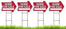 Home For Sale - RED - Arrow Shaped Sign Kit with Stands - 4 Pack(K-S205-4PK)