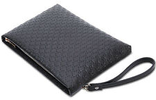 Men's Bag Black Clutch Bag Large Capacity Business Handbag Microfiber Leather