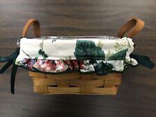 Longaberger Tea Basket w/Heavy protector & fabric liner - set