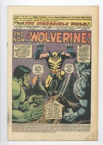 Incredible Hulk #181 Vol 1 Nice Missing Front Cover and MVS 1st App of Wolverine