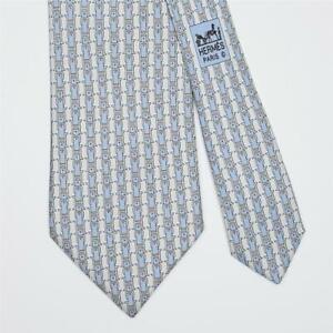 HERMES TIE 5412 OA Belt Striped on Light Blue Classic Silk Necktie
