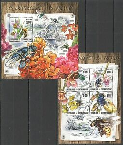 CA085 2016 CENTRAL AFRICA NATURE FLOWERS BEES ORCHIDEES LES ABEILLES KB+BL MNH