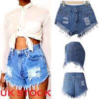 UK STOCK Womens Ladies Summer High Waist Denim Jeans Casual Shorts Hot Pants New