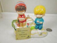 Vintage Joan Walsh Anglund Ceramic Double Boy Girl Figurine 1972 Summer Days Sea