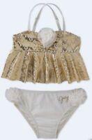 JUICY COUTURE Gold Ivory Floral Accent Ruffle Bikini Swim Suit Girls Sz 7 8 / 10