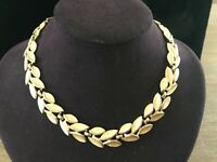 Vintage Signed Crown Trifari Gold Tone Leaf Satin and Smooth polished Link Neckl