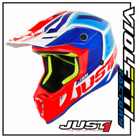 CASCO CROSS ENDURO MOTARD JUST1 J38 BLADE BLU RED WHITE BLU ROSSO BIANCO