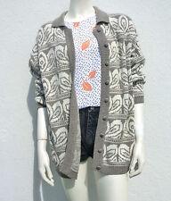 Vintage 1980s/90s Tribal Pattern Oversized Cardigan Grey/White Festival S/M/L
